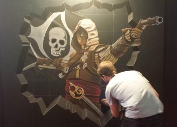 L'une des fresques crées sur le stand Orange
