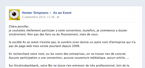 Capture Commentaire AS An Event