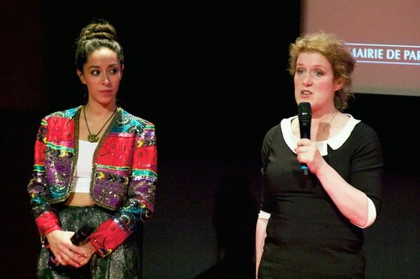 Oona Chaplin et la scénariste Sarah Phelps après la projection de The Crimson Field à Séries Mania. Photo Isabelle Ratane