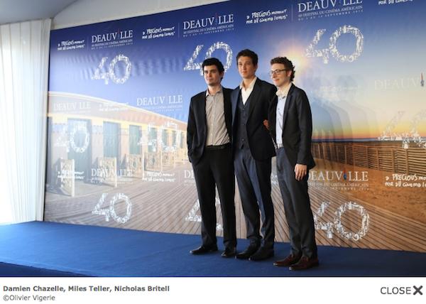 Le réalisateur Damien Chazelle, l'acteur Miles Teller et le producteur Nicholas Britell : la fine équipe de Whiplash, Grand Prix 2014.
