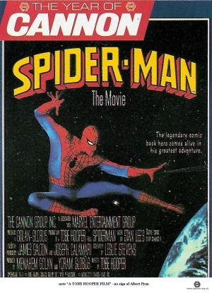 """L'affiche du jamais tourné """"Spider-Man, the movie"""", de Tobe Hooper, telle que montrée au Marché du film de Cannes en 1986. La patte Cannon, telle qu'évoquée dans le documentaire : savoir concocter la crème des affiches teasing..."""