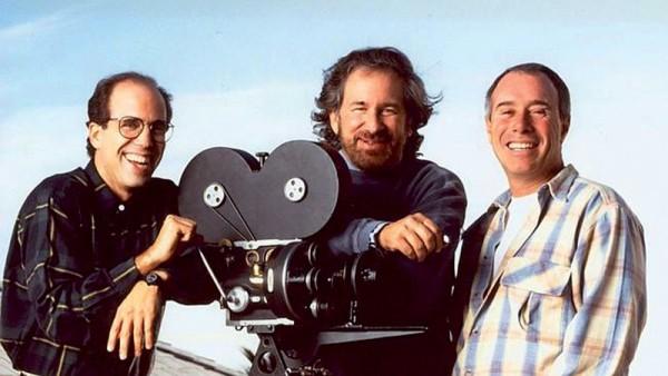 La troïka Katzenberg/Spielberg/Geffen pose pour l'édition américaine du magazine Premiere en décembre 1994, photographié par Firooz Zahedi.