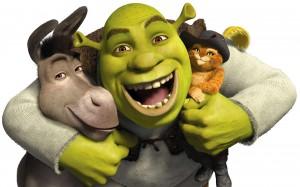 Shrek et ses potes, l'âne et le Chat Poté.