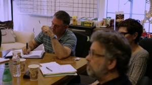 Harte making notes in Bones Writers' Room (2)