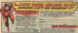 The Merry Marvel Marching Society : feu le fanclub officiel de Marvel, qui profita d'une comm' intensive de Stan Lee en personne entre 1964 et 1971.