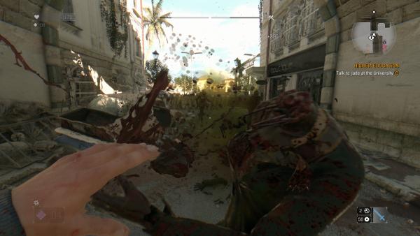 Prends ça vilain zombie ! Ce jeu est très, très gore. Et ça fait du bien !