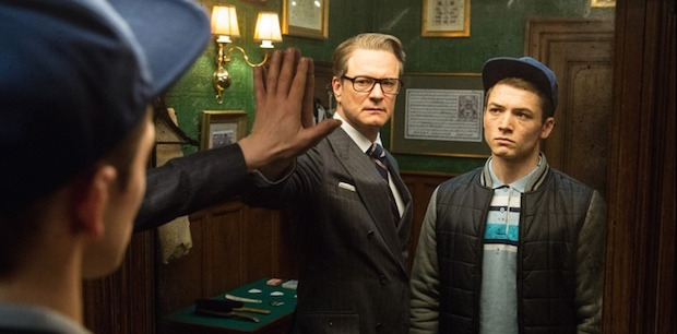 KSS_JB_D25_02636 - Harry (Colin Firth), an impeccably suave spy, helps Eggsy (Taron Egerton) turn his life around by trying out for a position with Kingsman, a top-secret independent intelligence organization.