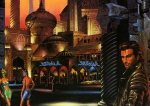 Illustration d'une extension du jeu de rôle Cyberpunk 2020, sortie en 1992, inspiré du premier livre des aventures de Marîd Audran.