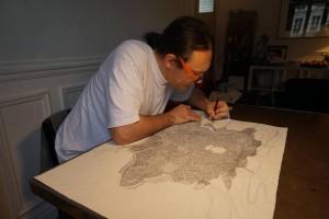 Nicolas Fructus tavaillant sur la carte de Jadis. (crédit : Nicolas Fructus)