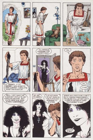 Orphée rencontre Mort, dans sa recherche d'Eurydice dans cette version de Neil Gaiman.