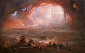John Martin, la destruction de Pompeï et Herculanum (John Martin est l'auteur de La destruction de Tyre, qui sert de couverture à l'ouvrage) (et est d'ailleurs bien adéquat)