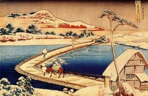 """""""Reconstitution du ponton de Sano dans la province de Kozuke"""", Hokusai Katsushika"""