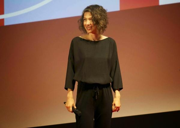 Maria Feldman lors de la présentation de False Flag en avril 2015 à Séries Mania. Crédit : FrenchTouch2.