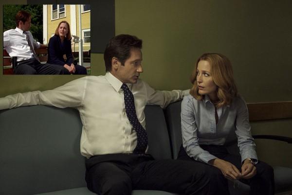 Mulder et Scully aujourd'hui dans Home Angain. En médaillon: la scène de Home