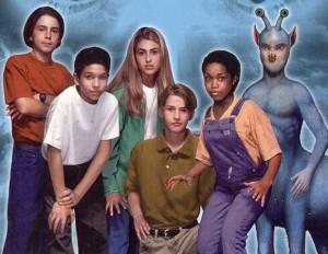 Rachel et Cassie, accompagnées de Marco, Jack, Tobias et Ax l'extra-terrrestre.