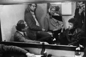 Allen Ginsberg, Peter Orlovsky, Barbara Rubin, Bob Dylan, and Daniel Kramer, backstage at McCarter Theatre