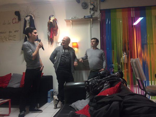 Présentation du projet des Engagés au centre LGBTI de Lyon le 7 février 2016. De gauche à droite : Baptiste Rinaldi d'Astharté & Compagnie, Sullivan Le Postec et Jules Thénier. (crédit Déborah Gay)