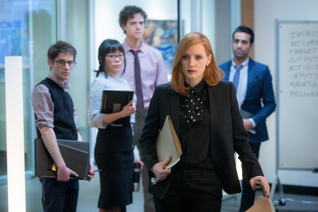 """M6 DF-01971.CR2 Noah Robbins, Grace Lynn Jung, Douglas Smith, Jessica Chastain and Al Macadam star in EuropaCorp's """"Miss. Sloane""""...Photo Credit: Kerry Hayes.© 2016 EuropaCorp – France 2 Cinema. ."""